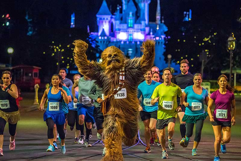runDisney racing with Chewbacca